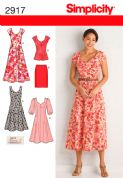 2917 Simplicity Pattern: Misses' and Plus Size Dresses, Tunic, Skirt and Tie Belt